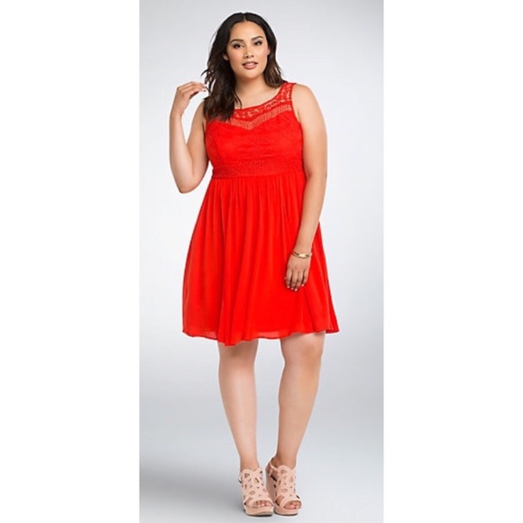 f10cc2196c58f Torrid Plus Size Red Gauze Crochet Skater Dress. M 5b692ad4800deeefa563df2a